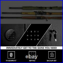 Biometric 5-Rifle Gun Safe Storage Cabinet Fingerprint With 2 Handgun box &Keys