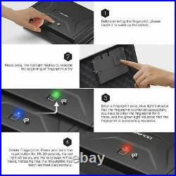 Biometric Gun Pistol Safe Fingerprint Handgun Gun Metal Lock Box Case Security
