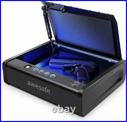 Biometric Gun Safe Lock Case Smart Handgun Box Fingerprint Lock Quick Access