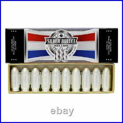 Box of 10 1 oz Silver. 45 Cal Pistol Inert Cartridge Bullet BU