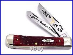 CASE XX Colt 1911/. 45 Auto Combat RED Bone Trapper Knife Gold Color Etch/Box NEW