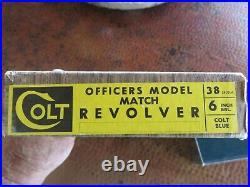 COLT Officers Model Match Revolver 38 Special 6 Barrel Vintage Box