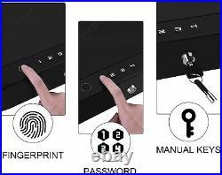 Double Pistol Gun Safe Box Metal Steel Fingerprint Biometric Lock Finger Print