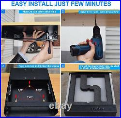 Double Two Pistol Safe Gun Metal Box Concealed Biometric Fingerprint Drawer NEW