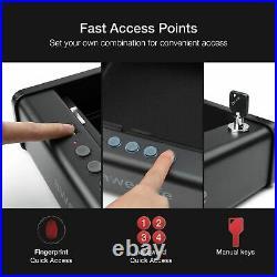 Gun Pistol Safe Box Metal Case Biometric Fingerprint Lock One Handgun Storage