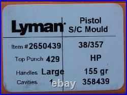 Lyman/ideal 358439 38/357 155 Grain Keith Hollow Point Mould Mold New In Box