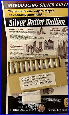 NWTM Box Of 10 1 Ounce. 45 Caliber Pistol Silver Bullets Bullion Collectors