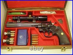 Pistol Gun Presentation Case Wood Box Colt Python Hunter Halliburton Foam Scope
