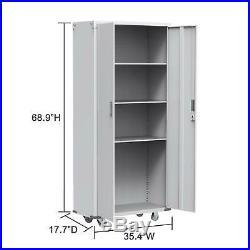 Rolling Garage Tool File/Pistol /Gun Storage Cabinet Box Shelving Doors with Lock
