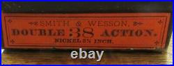 Smith & Wesson Antique Maroon Hinged Box S&W. 38 Double Action Orange Label RARE