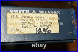 Smith & Wesson Factory. 357 Combat Magnum Revolver Model 19 Wood Grips WithBox
