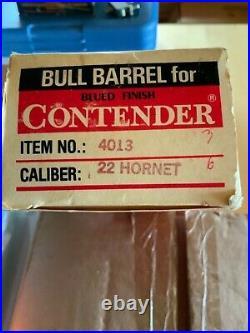 Thompson Center 10 bull Contender Barrel 22 hornet cal New in Box 30 yrs. Old
