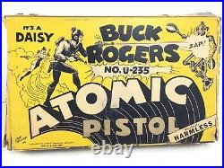 Vintage Buck Rogers U-235 Atomic Pistol Boxed with Rare Adventure Book Complete