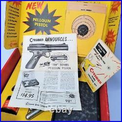 Vintage CROSMAN Model 150 Home Shooting Set Pellgun CO2 Pistol with Original Box