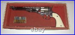 Vintage Hubley Colt 45 Pistol & Bullets. + Original. Box. Works 100 %