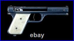 Vintage Pearl Handle Circa 1937 Bulls Eye SHARP SHOOTER Gun Pistol Metal Box