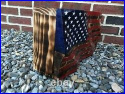 Waving American Flag Concealment Compartment Cabinet Hidden Gun Storage Box Case